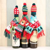 ScarfHat Strickrotweinflasche Covers Dekoration Bär Weihnachtsmann-Hut für Heim Weihnachtsdekorationen JK2010PH