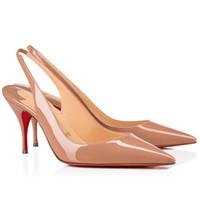 Mujeres bajas tacones bombas tacones rojos tacones de patente de cuero sexy Sexy Sandalias puntiagudas de punta, bomba de lujo de París Bombas de slingback impreso