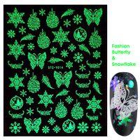 Nail Stickers Nail Serie Natale decalcomanie di arte Glow In The Celebrity scuro luminoso del fiocco di neve Albero di Natale 3D adesivi