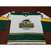 Seltener freies Verschiffen 888 # 18 Humboldt Broncos White Hockey Jersey Größe S-4XL oder benutzerdefinierte Name oder Nummer Retro Jersey