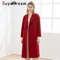 Miscele di lana da donna Suyadream Handmade Handmade 100% Donne Antole Cappotto lungo Cappotto lungo Elegante Elegante Ufficio Chic Blend Vino Nero Khaki Inverno