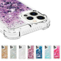 Bling Bling Quicksand Case pour iPhone 12 Mini 11 Pro Max Cover Case anti-goutte TPU Clear Clear Clear Clef pour iPhone XR 8 Plus