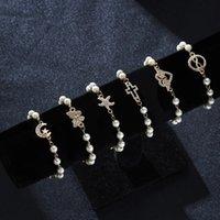Bracelet de perles Simulé pour les femmes de la mode strass Croix ronde Starfish Charm Bracelet en or chaîne mariée mariage Cadeaux de bijoux