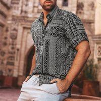 Mens Streetwear Vintage Ethnic Style Printing Hawaiian Shirts Retro Patchwork Loose Short Sleeve Stand Collar Casual Shirt Plus1 Men's