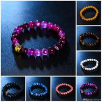 Charme-Armbänder Art und Weise natürliche für Frauen Lava Steinperlen und Tiger-Augen-Stein-Korn-Armband