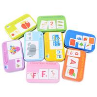 Bebek Biliş Yapboz Oyuncaklar Toddler Çocuk Demir Kutu Kartları Eşleştirme Oyunu Bilişsel Kart Araba Meyve Hayat Yapboz