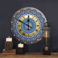 Mandala Diamond Painting Clock 5D Metal Tin Signs Diamond Em...