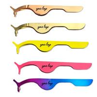 Yanlış Kirpik Cımbız paslanmaz çelik kirpik bigudi altın Göz Lash Aplikatör Yardımcı kelepçe Klip logosunu kabul gül