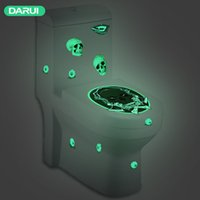 Световая Туалет Наклейки Horror Череп Ведьмы Motif Жест ванной стульчак наклейка Хэллоуин туалет Home Decor GGE1884