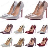 2021 Glimmer Sapatos radiados Estilos 8cm 10 cm 12cm saltos altos sapatos fundo vermelho nude cor de couro genuíno toe bombas de borracha tamanho 35-45