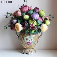 إكليل الزهور الزخرفية [12 رؤساء الزهور] الأوروبي 1 باقة بالجملة الحرير الفاوانيا الفظيرة جعل النسيج اليدوية 6 ألوان