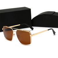 أعلى الفاخرة Qualtiy جديد أزياء المرأة الرجال مربع النظارات الشمسية خمر المعادن نظارات الشمس مصمم في الهواء الطلق نجمة نمط نظارات مع صندوق