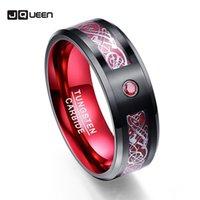 Scrub rossa zircone uomo anelli anelli di nozze in carburo di tungsteno puro anelli anillos para hombres anello con sliver color dragon pattern 201006