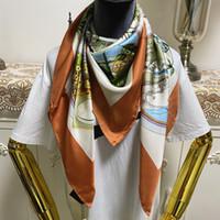 Nuevo estilo de la bufanda cuadrada de las mujeres bufandas de buena calidad 100% seda material de seda naranja color pinta letras de flores tamaño de patrón 110 cm - 110 cm
