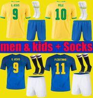Brasil Neres Coutinho Soccer Jersey 2020 2021 Camiseta de futebol Brasile G.Jesus Firmino 20 21 Camicia da calcio Uomo + Kit Kit Kit Set Uniformi