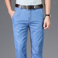 Мужские джинсы ICPANS 2021 летние тонкие джинсовые мужские голубые прямые растягивающиеся классические дженства для мужчин середина талии размером 38 40 42 pant1