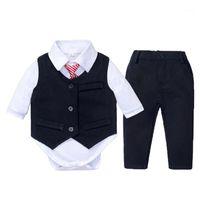 Roupa de cavalheiro para bebê recém-nascido meninos formais vestido branco romper marinho colete calças 4 peças crianças fatos de casamento de aniversário kb80391