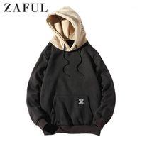 Herren Hoodies Sweatshirts ZAFUL Color-Blocking Brief Patch Detail Beutel Pocket Fleece Hoodie Hüfte Coole Pullover Sport Männer Sweatshirts1