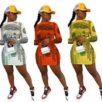 2021 Frühling Herbst Frauen Banknote Drucken Niedrige Rückseite Kleid Designer Mode Lässige Halfter Rundhals-Sexy Slim Langarm Mini Kleider HH12004