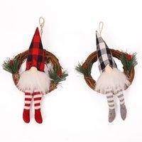 Boże Narodzenie Gnome Z Lekką Plaid Buffalo Check Pluszowe Nordic Scandinavian Elf X'mas Party Wakacyjny Decor OoC2971