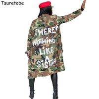 Tsuretobe 플러스 사이즈 위장 트렌치 코트 여성 가을 캐주얼 문자 인쇄 코트 포켓 긴 소매 외투 여성 착실히 보내다