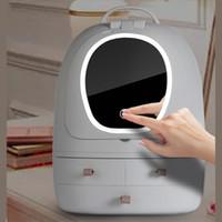 Cosmetici Storage Box LED Specchio da toilette trucco Oganizer antipolvere cassetto Desktop Casella di finitura USB portatile trucco di caso Y1113