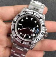 Mens Best Quality GS Factory Diamonds Gems Gems Gems Asia 2836 Movimento automatico Black Blue Dial Inossidabile 316L Movimento Automatico orologio automatico 2021