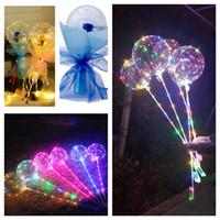 2021 Rose BOBO BALÕES COM PUNHO PISCANDO LED Night Luzes Bobo Bola Transparente Clear Balloons Stick Para Casamento Férias Dia dos Namorados