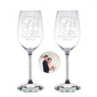 1set Custom text photo wine champagne Glass Company Annivers...