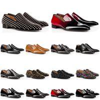 Erkekler Deri Ayakkabı Kırmızı Sneakers Alt Çivili Spike Elbise Ayakkabı Tasarımcısı Lüks Erkek Trainer