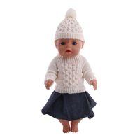 Cálido juguetes de niños ropa de invierno de manga larga muñeca suave del suéter de la falda de la ropa de sport Sombreros Set de accesorios de ropa por 18 pulgadas muñeca Barbie