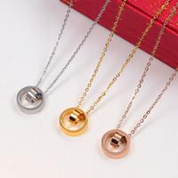 2021 Dual Circle Anhänger Rose Gold Silber Farbe Halskette für Frauen Vintage Kragen Kostüm Schmuck mit Box Set