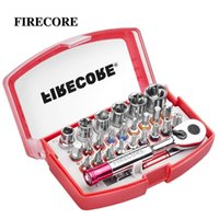 """Firecore 26pcs 1 PCS 1/4 """"Llave de trinquete y destornillador Set de bits de bits HEX TORX BITS Mini llave de rachet y kit de bits de tornillo T200522"""