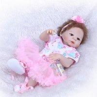 """23 """"57cm Vollsilicon Reborn Girl Realistisches Vinyl Neugeborenes Baby Schlafende Puppe Wasserdichte Körper Magnetische Mundpuppen"""