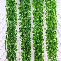 12 unids / pack artificial Ivy hoja guirnalda plantas vid falso follaje flores decoración del hogar plástico artificial flor rattan evergreen cirrus