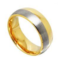 결혼 반지 2021 남성용 원본 8mm 너비 텅스텐 골드 컬러 핑거 너클 돔 밴드 브러쉬 마무리 크기 5-141