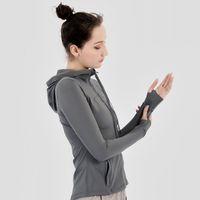 Frauen Sportjacke Reißverschluss Yoga Mantel Schnelltrocken Strickjacke Mit Kapuze Fitness Running Sportwear Fitnessstudio Trainingsoberteile Mädchen Elastische Jogging Jacken