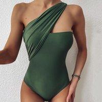المرأة حللا السروال القصير النساء الصيف ارتداءها مثير قطعة واحدة ملابس السباحة مصممة واحدة الكتف بحر ملابس السباحة النقي الأسود الأخضر
