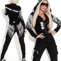 Streetwear asas do anjo Imprimir Treino para Sportwear moletom com capuz e calças Mulheres Zipper Punk Suit A1111 feminina conjunto Marca Mulheres