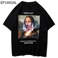 Efungal divertente Mona Lisa stampato manica corta T-shirt Streetwear Uomo Estate Harajuku Hip Hop Top Tees Cotton Casual Tshirts Y200422