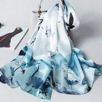 고급 실크 스카프 여성 디자이너 중국어 번체 스타일 꽃 실크 숄 숙녀 랩 스카프 풀라 새로운