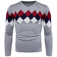 Men Fashion Casual Colorful Rhombus del modello Slim maglioni con scollo a V Warm Knitting Pullover Maglione