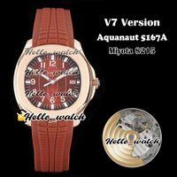 V7 версия 40 мм New 5167 5167R-001 Miyota 8215 автоматические мужские часы коричневые текстуры циферблат розовый золотой чехол коричневый резиновый спорт часы Hello_Watch