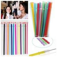 24cm PP plastic straws colorful reusable drink juice bar party decor CYF4479