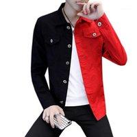 Männer Jacken Frühling Herbst Männer Casual Slim Denim Jacke Schwarz Weiß Rote Farbe Passende Homme Buchstaben bestickt Harajuku Stil Mantel1