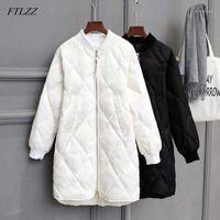 여성용 파카는 겨울 긴 재킷 Womens Ultra Light White Duck Coat 대형 퍼프 재킷 슬림 가을 Parkas1