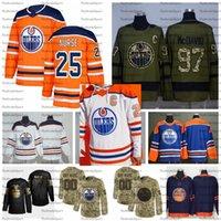 2021 Reverse Retro Anpassen # 25 Darnell Nurse Edmonton Öler Hockey Jerseys Golden Edition Camo Veterans Tag Figns Cancer Shirts