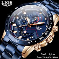 2020 hommes montres étanche acier inoxydable LIGE TOP marque de luxe mode de sport montre chronographe quartz horloge black montre homme lj201202