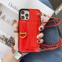 1pcs de lujo de la PU de cuero iPhine 12 casos bolso de la tarjeta del patrón del cocodrilo crossbody cajas del teléfono de iPhone 11 Pro Funda SE Xs 7 8 Plus Xr X Max