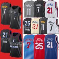 2021 Irving 11 Simmons 21 Joel Kyrie Embiid 7 كيفن 25 بن دورانت 76 جيرسي الرجال NCAA مدينة كرة السلة الفانيلة